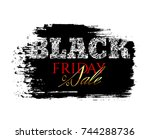 banner with the grunge chalk... | Shutterstock .eps vector #744288736