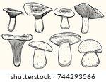 set of mushroom illustration ... | Shutterstock .eps vector #744293566