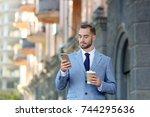 handsome man in elegant suit ... | Shutterstock . vector #744295636