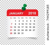january 2018 calendar. calendar ... | Shutterstock .eps vector #744299185
