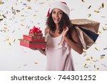 beautiful afro american girl in ... | Shutterstock . vector #744301252