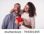 beautiful afro american girl is ...   Shutterstock . vector #744301345