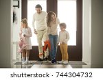 children siblings returning... | Shutterstock . vector #744304732