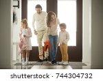children siblings returning... | Shutterstock . vector #744304732