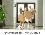 happy family with kids bought... | Shutterstock . vector #744304816