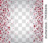 romantic origami paper heart... | Shutterstock .eps vector #744306646