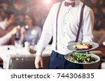 romantic couple dating in... | Shutterstock . vector #744306835