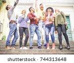 group of happy friends... | Shutterstock . vector #744313648