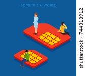 sim card flat isometric concept ... | Shutterstock . vector #744313912