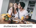 good morning  young romantic... | Shutterstock . vector #744314392