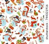 seamless pattern of cute... | Shutterstock .eps vector #744321916