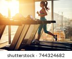 young healthy athletic woman... | Shutterstock . vector #744324682