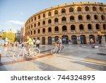 valencia  spain   august 18 ... | Shutterstock . vector #744324895
