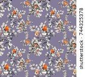 hand drawn seamless pattern... | Shutterstock . vector #744325378