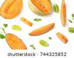 sliced ripe melon on white... | Shutterstock . vector #744325852
