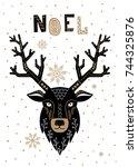 christmas card in scandinavian... | Shutterstock .eps vector #744325876