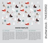 christmas winter infographics... | Shutterstock .eps vector #744335002