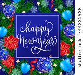 happy new year lettering with... | Shutterstock .eps vector #744335938