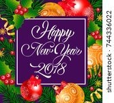 happy new year lettering in... | Shutterstock .eps vector #744336022