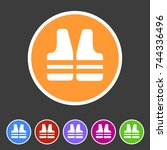 life vest jacket icon flat web... | Shutterstock . vector #744336496