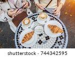 meeting of best friends. top... | Shutterstock . vector #744342595
