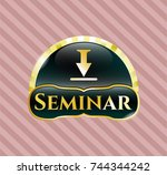 gold emblem with download icon ... | Shutterstock .eps vector #744344242