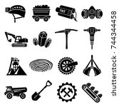 coal mine icons set. simple...   Shutterstock .eps vector #744344458