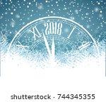 happy new year 2018  vector... | Shutterstock .eps vector #744345355