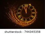 happy new year 2019  vector... | Shutterstock .eps vector #744345358