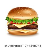 vector realistic hamburger icon.... | Shutterstock .eps vector #744348745
