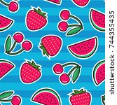 summer colorful bright seamless ... | Shutterstock .eps vector #744355435