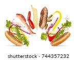 hamburger cheeseburger... | Shutterstock . vector #744357232