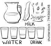 set doodle icons   jug and... | Shutterstock .eps vector #744366148