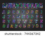 alphabet font template. set of... | Shutterstock .eps vector #744367342