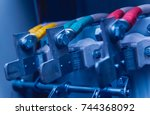 wires and switches in electric... | Shutterstock . vector #744368092