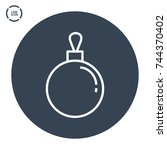 christmas ball line vector icon    Shutterstock .eps vector #744370402