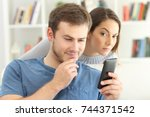 cheater man dating on line with ... | Shutterstock . vector #744371542