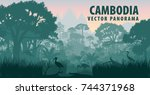 vector panorama of cambodia... | Shutterstock .eps vector #744371968