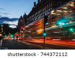 london cityscape  double decker ... | Shutterstock . vector #744372112