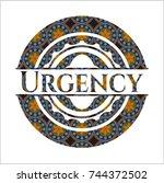 urgency arabesque emblem... | Shutterstock .eps vector #744372502