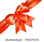 the red bow on a pink box | Shutterstock .eps vector #74437474