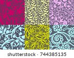 vintage floral seamless pattern ... | Shutterstock .eps vector #744385135