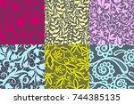 vintage floral seamless pattern ... | Shutterstock .eps vector #744385135