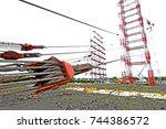 steel pulley   winch for load... | Shutterstock . vector #744386572