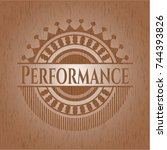 performance badge with wooden... | Shutterstock .eps vector #744393826