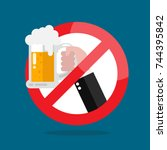 no alcohol allowed sign. vector ... | Shutterstock .eps vector #744395842