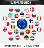 flags of european union and... | Shutterstock .eps vector #744396985