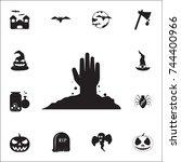zombie hand  halloween icon.... | Shutterstock .eps vector #744400966