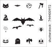 silhouettes of bats icon. set... | Shutterstock .eps vector #744400972