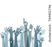 group of raising hands with... | Shutterstock .eps vector #744401746